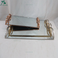 Nested 3 Rectangular Metal Plated Wedding Decor Mirrored Serving Tray