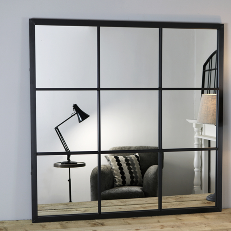 outdoor garden black metal square window wall mirror