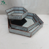 Sexangle Shaped Metal Mirrored Serving Tray Home Decorative Tray