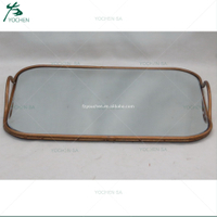 Rectangular Metal Mirrored Tray Copper
