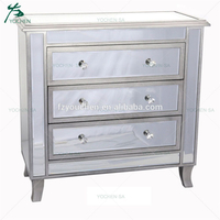 Silver Chest Of 3 Drawers Mirror Glass Modern French Style Wood Chests