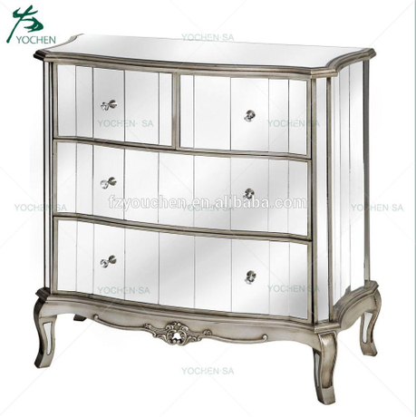 Antique French Style Mirrored Chest of Drawers Silver ...