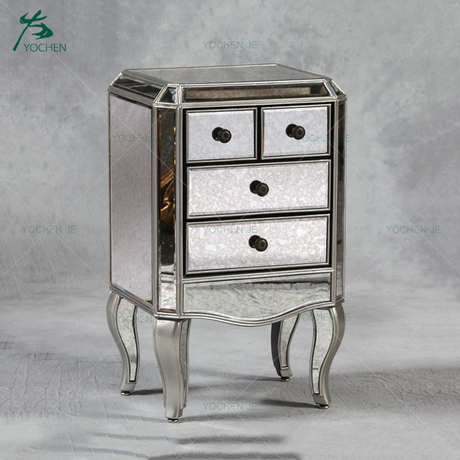 small modern mirrored nightstand bedside table