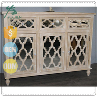 Distress Veneer Mirrored Sideboard Wood Cabinet