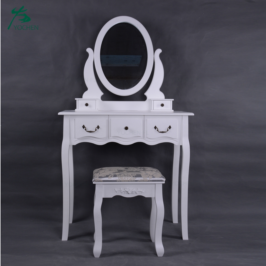 Modern Industrial Style White Rotating Dressing Table