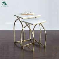 Home square marble top metal coffee side table
