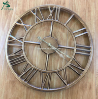 Antique Gold Metal Round Wall Clock Home Decoration
