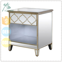 Gold Mirrored Single Drawer Bedside Table Wooden