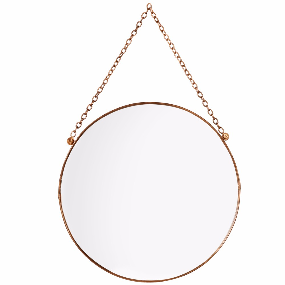 Small Round Copper Hanging Metal Frame Mirror