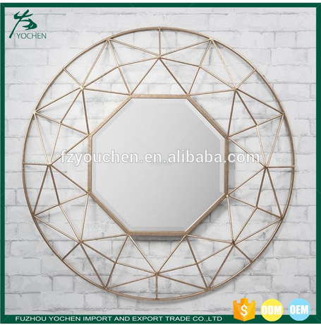 Antique Octagon Metal Wall Mirror Home Decoration
