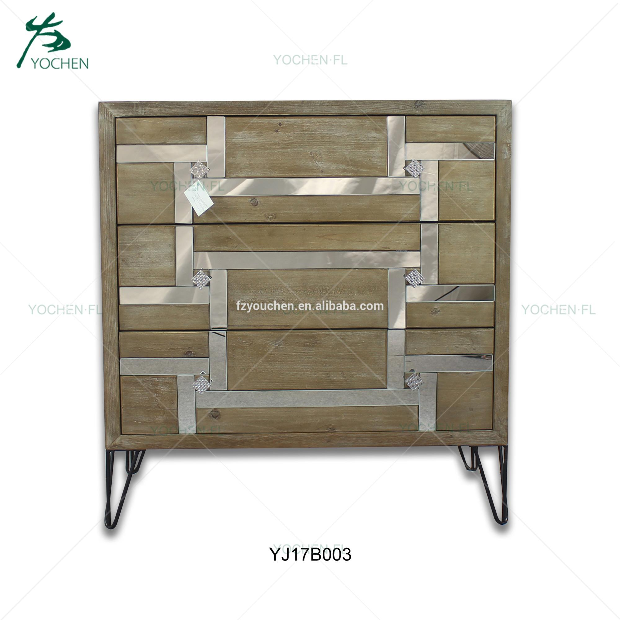 natural color with two different mirrors wooden cabinet