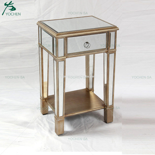 Vintage Mirrored Glass 1 Drawer Gold Trim Bedside End Table