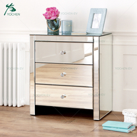 Silver Glass Narrow 3 Drawers Mirrored Chest