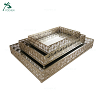 Mirror Serving Storage Tray Decorative Custom Metal Tray