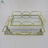 Gold Mirrored Tray with Metal Handles and Rectangle Mirror Base (Set of 2)