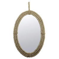 Antique Decorative Oval Rope Wall Mirror with Hanging