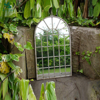 Large Decorative Gothic Arched Door Metal Framed Garden Wall Mirror