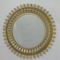 Antique Design Round Metal Sun Shaped Wall Hanging Mirror