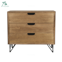 Hair pin metal leg 3 drawer wood cabinet bedside table