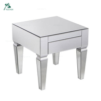 Silver Square Glass Mirrored Square End Table With Drawer