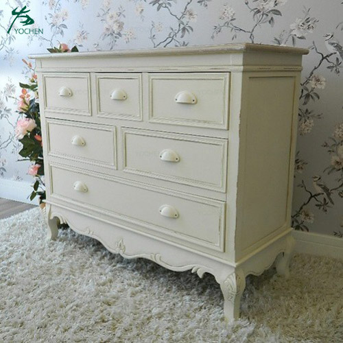 Fancy white and wooden sideboards living room cabinets french table
