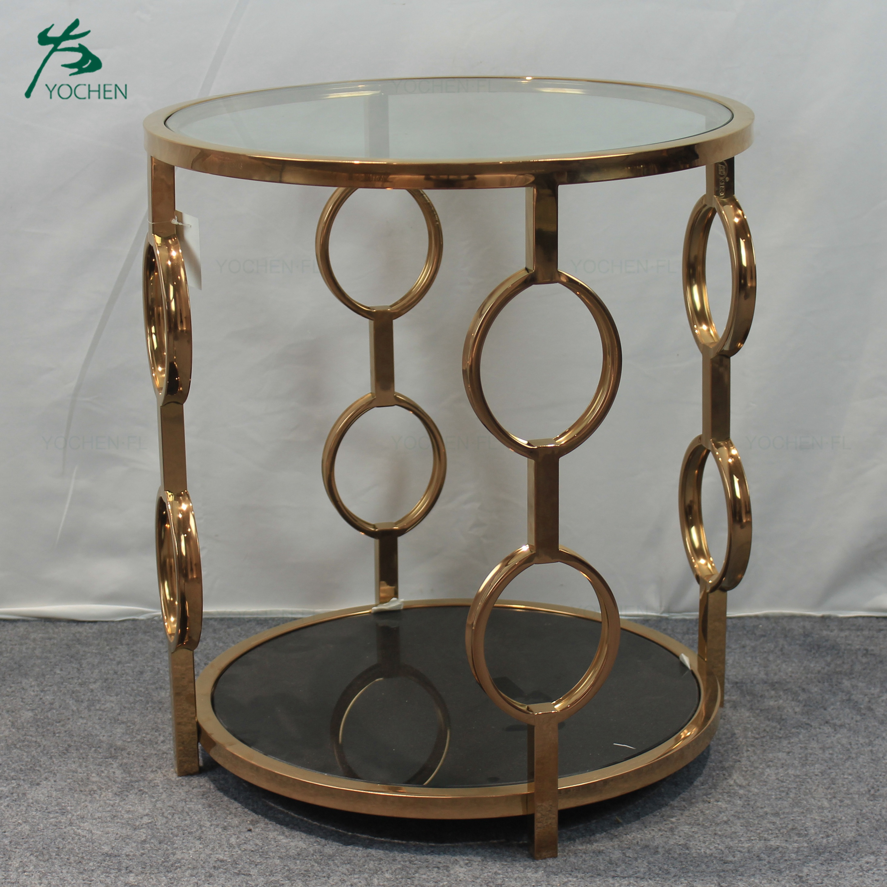 shining golden stainless steel round tea table