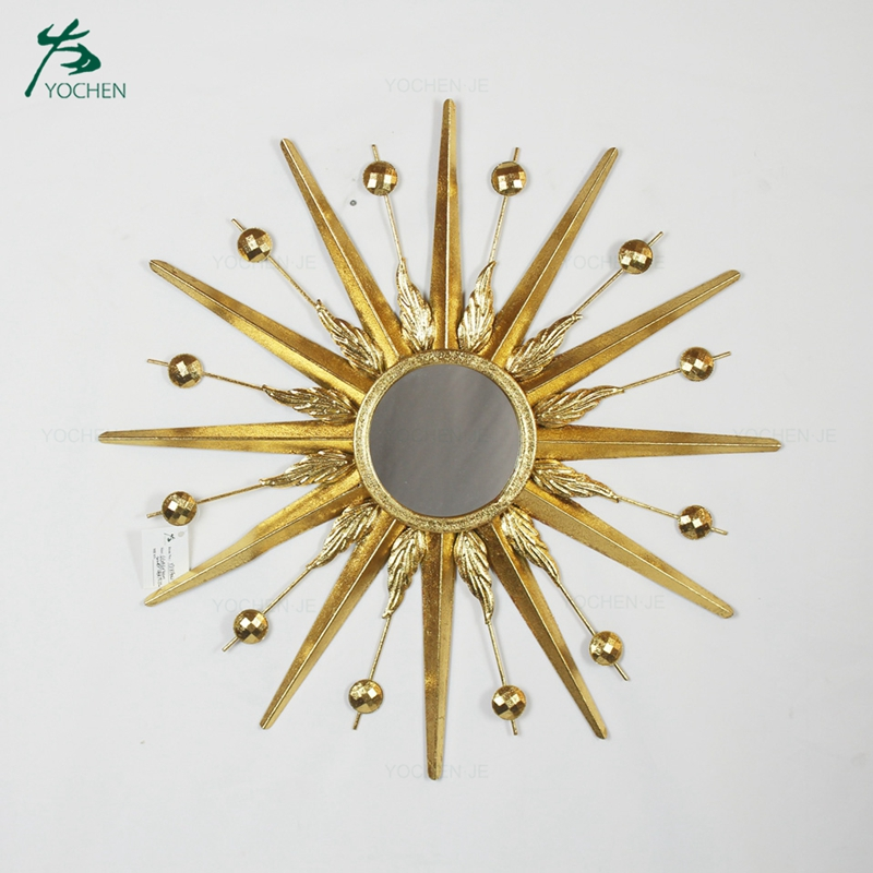decorative star shaped gold wall mirror