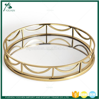 Metal Round Faux Marble Top Storage Tray