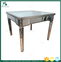 Vintage Mirrored and Silver Wood Dining Table Coffee Table