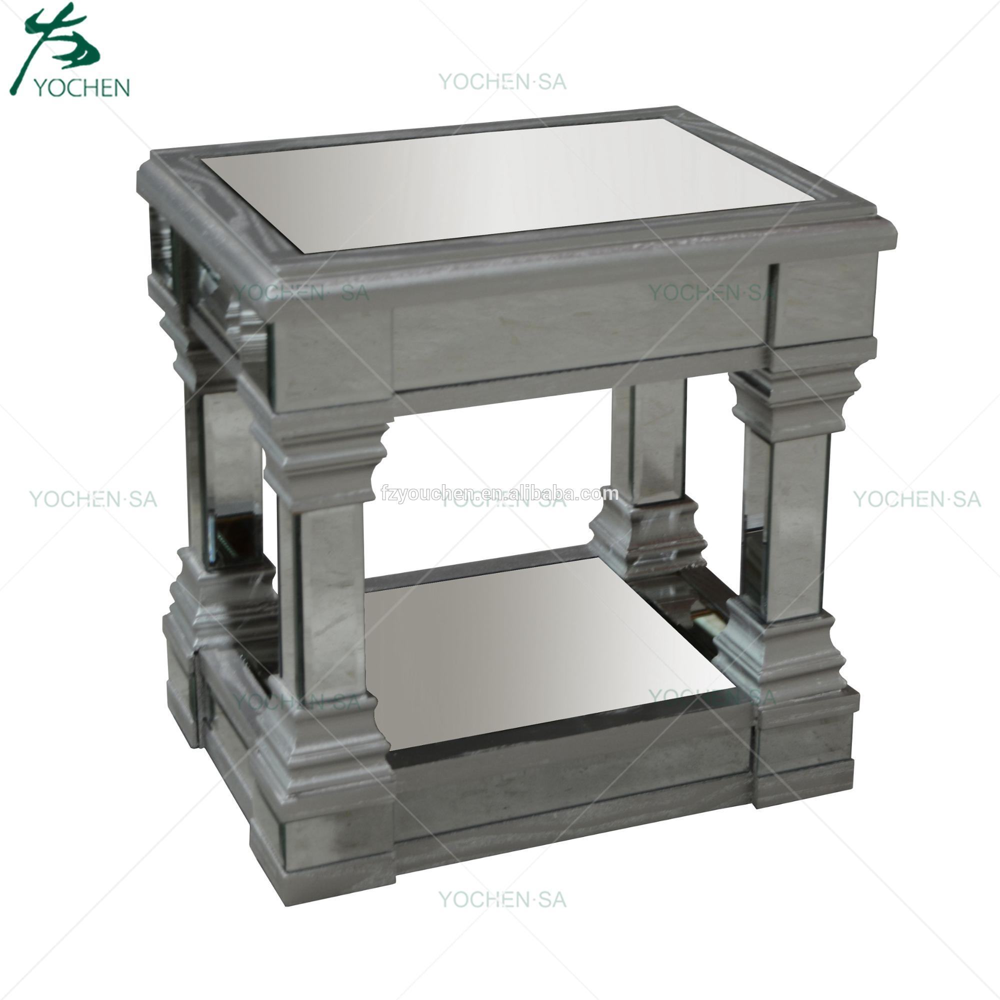 Bedroom Furniture Silver Mirror Bed Side Table Night Stand