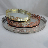 Mixing Color Nested Decorative Metal Mirrored Tray