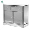 Modern Narrow Tall Silver Glass Chest of 4 Drawers