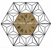 Large Industrial Hexagon Retro Style Wall Clock Shabby chic Wall Decor