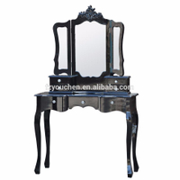 Vintage Black Wooden Make Up Bedroom Furniture