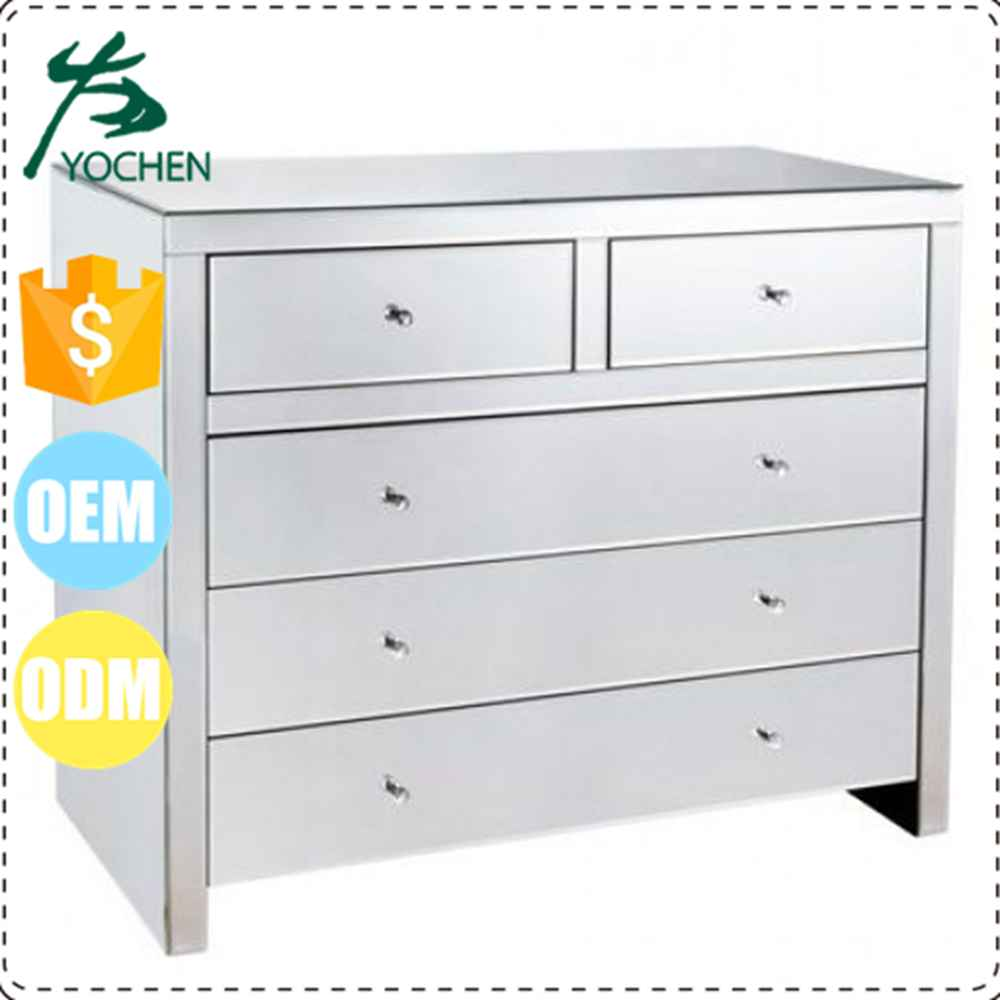 5 Drawers Silver Mirrored Chest Drawer For Living Room