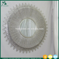 Sunburst Art Decor Dappled Round Metal Wall Mirror