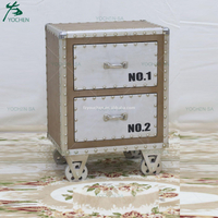 Aluminum Wooden Bedside Table 2 Drawer Cabinet Bedroom Furniture