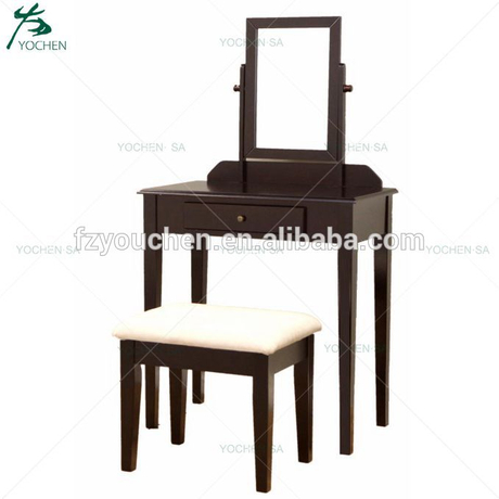 Black Dressing Table Set Wooden Makeup Desk With Mirror Drawer Stool Bedroom