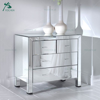 Decor Modern Mirror Glass Cabinet 4 Drawer Storage Cabinet