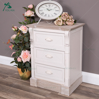 French Cream Distress Wood Three Drawers Bedside Table