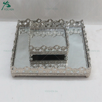 Silver Metal Storage Tray for Wedding Decors