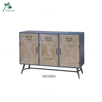 3 doors reclaimed wooden sideboard cabinet
