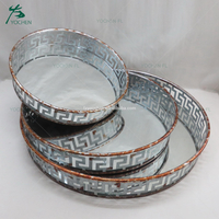 handmade metal round gold serving tray for decoration