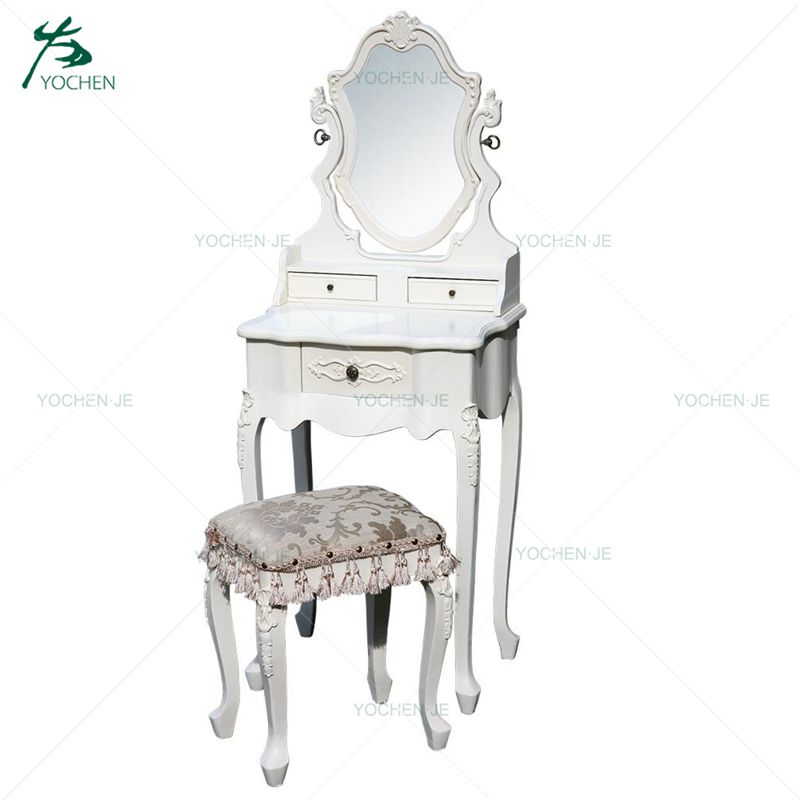Crystal Diamond Bedroom Furniture White Mirrored Dressing Table
