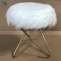 Home Decor Natural White Mongolian Lamb Fur Bench Metal Stool