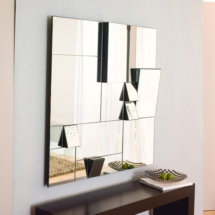 Oblique copper and grey wall decorative mirror