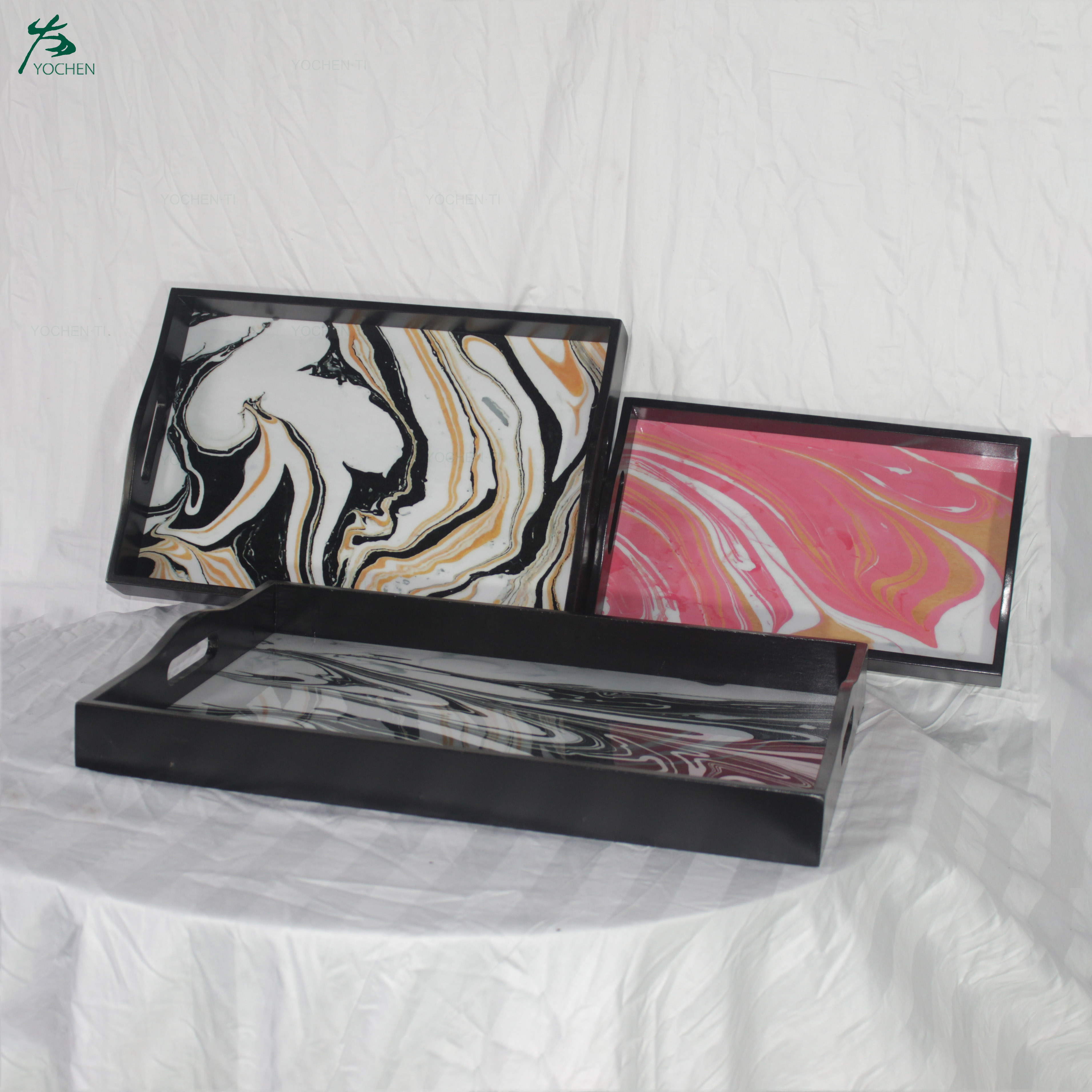 Black Marble Print Wooden Tray Resin Finish Lacquered Frame No Glass Rectangle Serving Tray