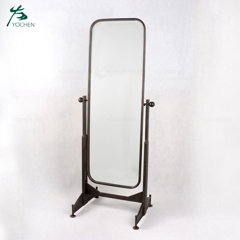 Black wrought iron floor stand dressing mirror
