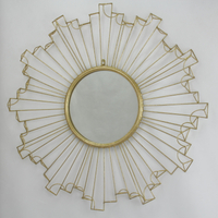 Round antique finished metal framed mirror for home decoration