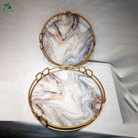 Decorative Tray Marble Tray With Polished Gold Metal Handles Vanity